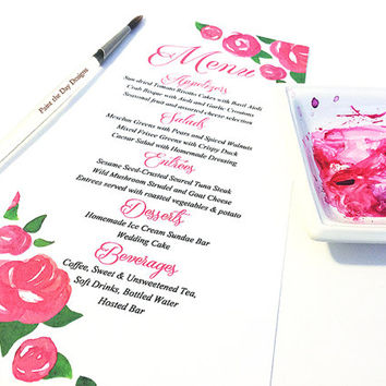 "Watercolor Wedding Menu - Entree Card Napkin Insert Menu ""Rose Garden"" Deep Pink Wedding Reception Card Dinner Menu Card - Reception Menu"