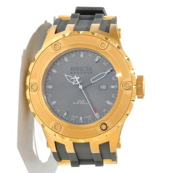 Invicta 12037 Men's Reserve Subaqua Diver Grey Dial Rubber Strap Gold Tone Stainless Steel GMT Dive Watch