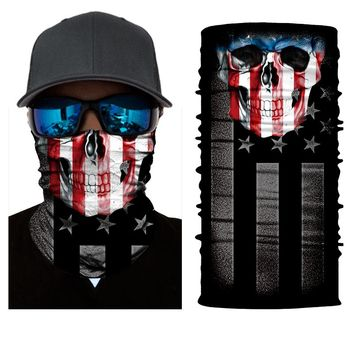 Face Shield Mask - American Flag Skull - Bandana Fishing / Hunting / Motorcycle