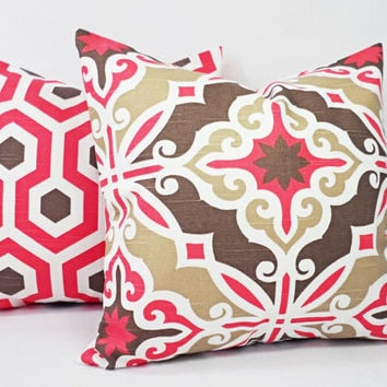 Coral Pillow Cover - Coral and Brown Throw Pillow - Decorative Pillows - Coral Pillows - Coral Lumbar Pillow - Coral Euro Sham