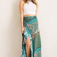Patchwork Wrap Maxi Skirt - Green