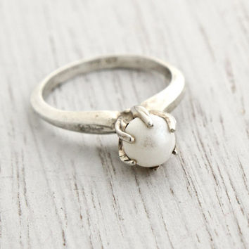 Vintage Sterling Silver Faux Pearl Ring - Retro Signed Sarah Coventry Size 5 Jewelry / Statement White Luster
