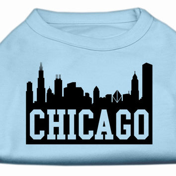 Chicago Skyline Screen Print Shirt Baby Blue Sm (10)