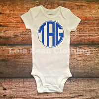Custom Onesuit Cake Smash Baby Boy Baby Girl Initials Onesuit Monogram Onesuit Gold Silver Blue Onesuit Birthday Outfit newborn take home outfit