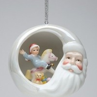Santa with Kid on a Rocking Horse Christmas Tree Ornaments, Set of 4 - Seasonal & Holiday Decorations