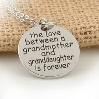 Retro Circular Carving  Alphabet Lettering Silver Necklace Grandmother and Granddaughter Pendant Chain Necklace Jewelry (With Thanksgiving&Christmas Gift Box)= 5987638657