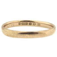 1942 WW2 London 9K Gold Wedding Band - Larger Size