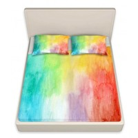 DiaNoche Designs Artistic Decorative Designer Unique Bed Sheets | Marley Ungaro's Artsy Rainbow Wash