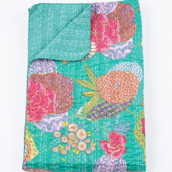 Queen Quilt or Blanket in Turquoise Green Floral