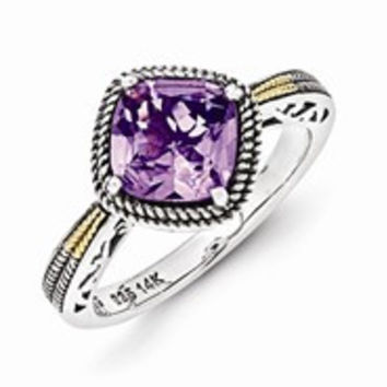 Sterling Silver w/14k Yellow Gold Antiqued Amethyst Ring