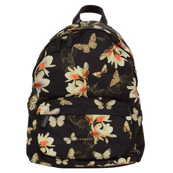 GIVENCHY Floral & Butterfly Print Black Nylon Backpack rt $1,320
