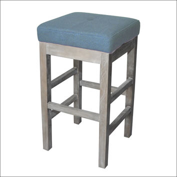 Valencia Backless Bar Stool Mystique Gray Legs, Aegean
