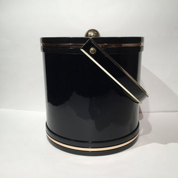 Black Vinyl Gold Chrome Ice Bucket, Vintage 1970s Ice Bucket, Retro Barware, Bar Cart, Made in USA, Black Vinyl Ice Bucket with Lucite Top