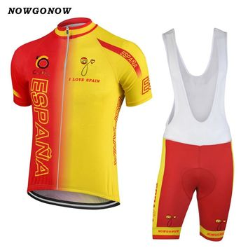 NEW 2017 ESPANA SPAIN Classical Bicycle Team Bike Cycling Sets / Wear Jersey / Bib Shorts Breathable Gel Pad CHOOSES JIASHUO