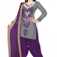 PR996-Lovely trendy unstitched black and white cotton kameez and cotton printed salwar with dupatta