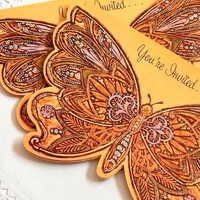 Vintage Butterfly Card. Butterfly Invitation. Greeting Card. Stationery. Note Card. Scrapbook Ephemera. Embellishment. Butterfly Die Cut.