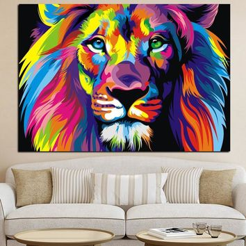 Watercolor Lion Animals Abstract Oil Painting Art Print on Canvas