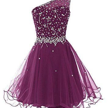 Women Short One Shoulder Prom Dresses Tulle Homecoming Dress with Beads
