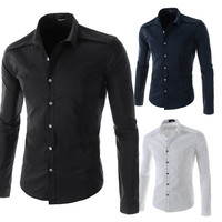 European Style Slim Fit Solid Color Dress Shirt