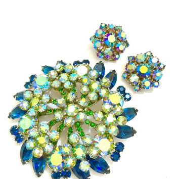 Juliana D&E Rhinestone Demi, Brooch and Earrings, Blue Green and Aurora Borealis Rhinestones, Silver Tone, Wedding Jewelry, Special Occasion