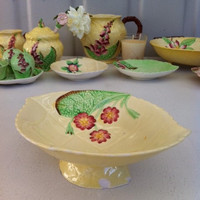 Cute, Carlton ware Primula comport dish!! Lemon yellow, vintage English china jam/ butter dish!