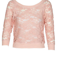 Brushed Lace Raglan Long-Sleeve