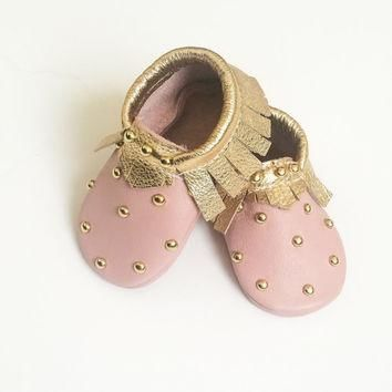 Toddler / Baby Moccasins - Pink & Gold Studded Baby Moccasins, Toddler Moccs, Leather