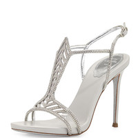 Crystal Chevron T-Strap 105mm Pump, Silver
