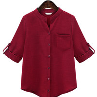 Red Buttoned Roll-up Sleeve Blouse