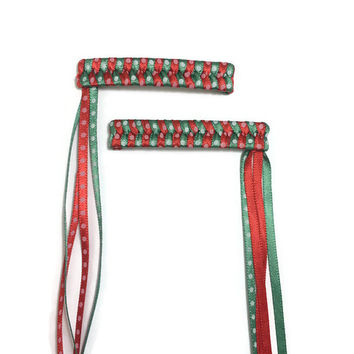 Red & Green Dots - Christmas - Braided Ribbon Streamer Barrettes - Made To Order- Ribbon Woven Barrettes