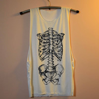 Skeleton Shirt Bones Shirts Muscle Tee Tank Top TShirt T Shirt Top  Women - size S M L