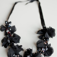Black silk abstract flowers and beads necklace, different shape beads, beadwork small beads silver, Statement 2015 spring fashion