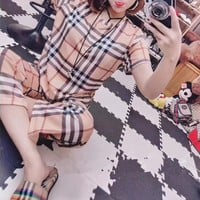 """Burberry"" Women Temperament Casual Fashion Multicolor Stripe Tartan Short Sleeve T-shirt Trousers Set Two-Piece"