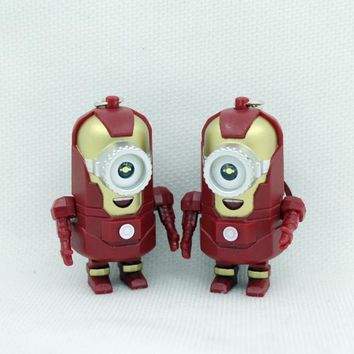 The avengers alliance LED Minions keychain, hot movie Keychains with sound, Hero alliance Keychains Cos iron man minions Keyring