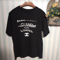 Chanel Popular Women Summer Personality Print Short Sleeve T-Shirt Top Black