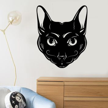 Vinyl Wall Decal Abstract Cat Head Mustache Pet House Animal Stickers (2737ig)