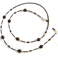 Chocolate Brown Beaded Eyeglass Lanyard Fancy Glasses Necklace Chain