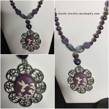 Statement Necklaces Cameo Purple hummingbird necklace/free shipping