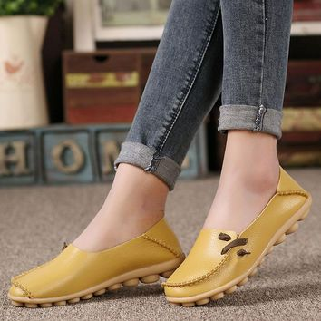 Women shoes 2018 summer loafers moccasins women flats shoes slips soft genuine leather casual female shoes woman tenis feminino