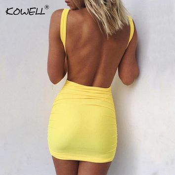 Kowell  Sexy Backless Summer Dress 2018 Slim Short Pencil Bandage Club Party Dresses Casual Beach Mini Bodycon Dress Vestidos