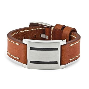 Stainless Steel Brown Leather w/Carbon Fiber Buckle Bracelet