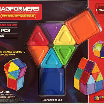 Magformers 30 Pcs Rainbow Opaque Solid Magnetic Construction Set