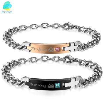 """His Queen"" ""Her King "" ""Princess , Prince , Beauty, Beast"" Couple Stainless Steel Crystal Bracelets Customer Engrave"