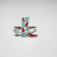 Size 6 Unique Vintage Cowboy Boot Ring with Coral and Turquoise Inlay Size 6 - FREE US Shipping