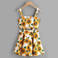 Cut Out Sunflower Dress