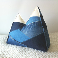 Mountain Pillow  Ozarks  Denim patchwork by MountainPillows