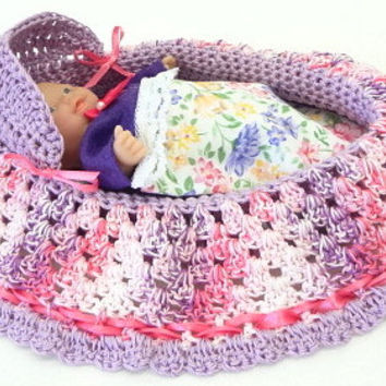 hand crocheted baby cradle purse with baby doll lavender pink BG78