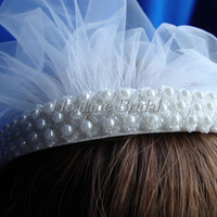 Bridal Headpiece, pearl headband with veil, Bridal/First communion veil