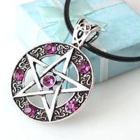 Pentagram Pendant Necklace  New Style Wicca Pagan Gothic Pentagram Pentacle Star Crystal Pendant Five Pointed Star Purple  Theme