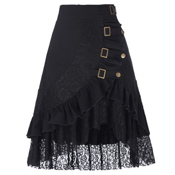 VINTAGE PUNK SKIRT COTTON LACE GOTHIC CLOTHING GYPSY HIPPIE VICTORIAN STEAMPUNK CLOTHING FOR WOMEN CLUB SKIRTS PUNK RAVE